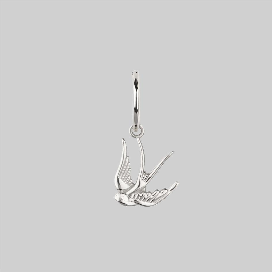 silver swallow earrings