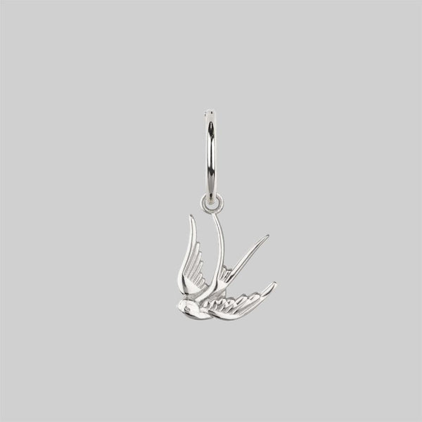HOPE. Swallow Hoop Earrings - Silver