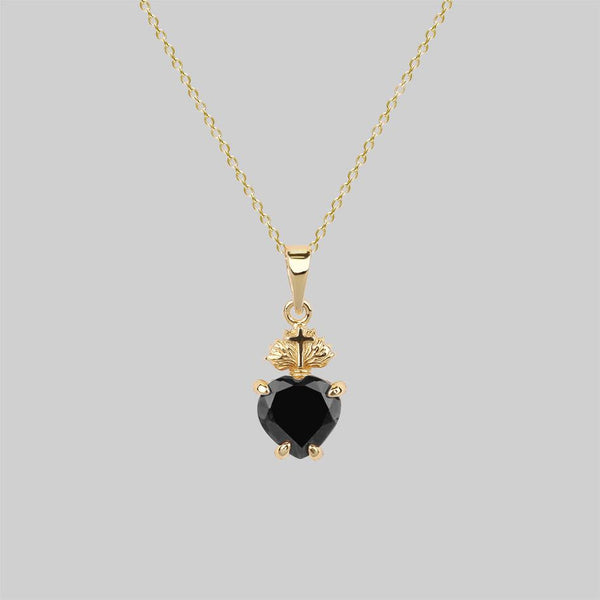 The Sacred Heart Black Spinel Necklace - Gold