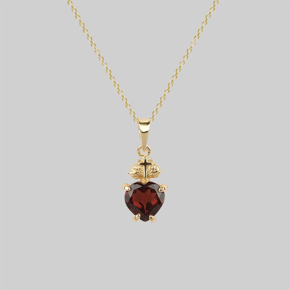 Garnet sacred heart necklace