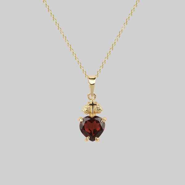 The Sacred Heart Garnet Necklace - Gold