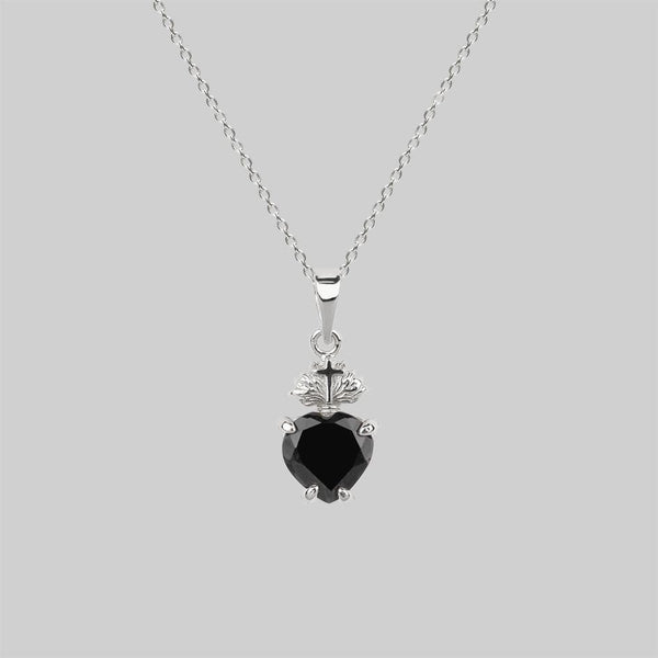 The Sacred Heart Black Spinel Necklace - Silver