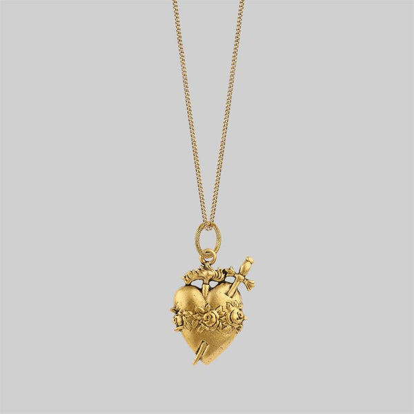 Gold sacred heart necklace