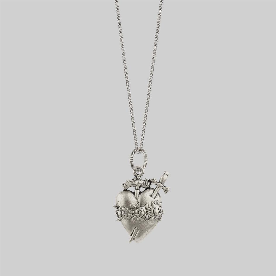 Flaming sacred heart necklace