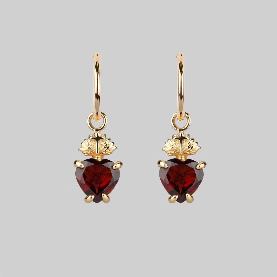 Garnet and gold charm earrings