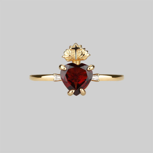 The Sacred Heart Garnet Ring - Gold