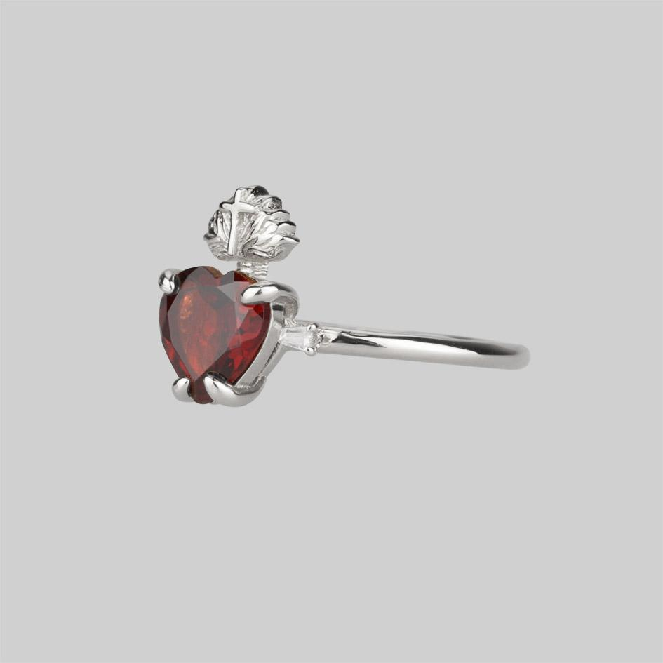 Garnet and silver sacred heart ring