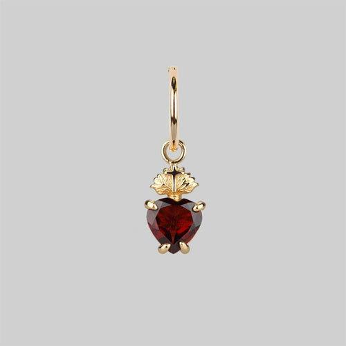 Gold sacred heart single earring