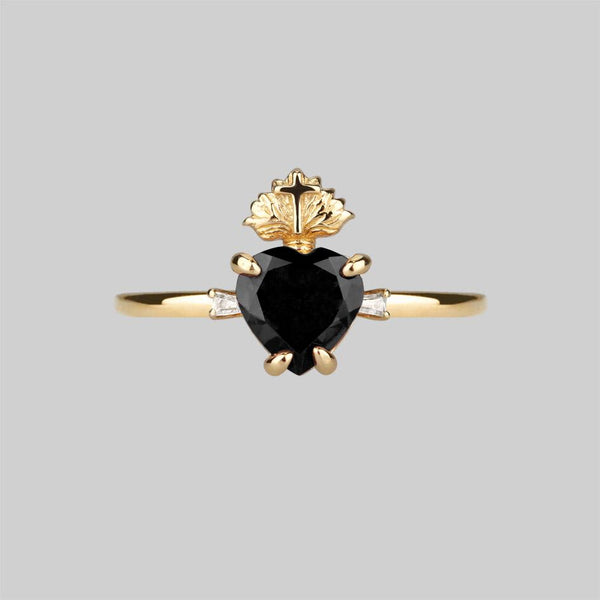 The Sacred Heart Black Spinel Ring - Gold