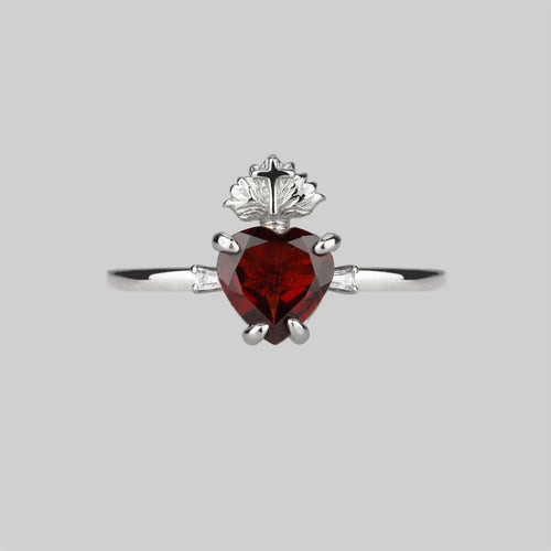 Silver sacred heart ring