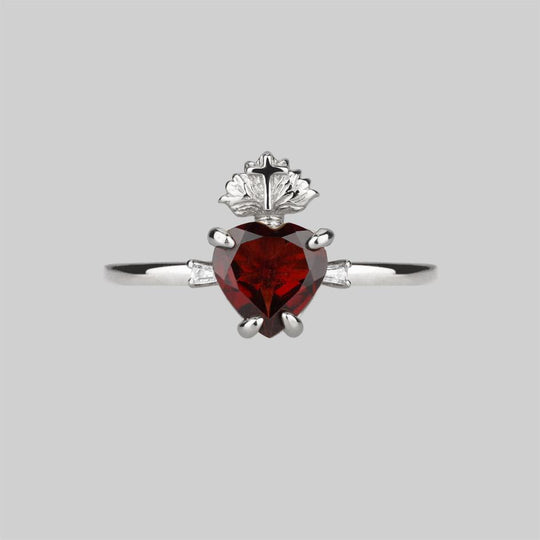 The Sacred Heart Garnet Ring - Silver