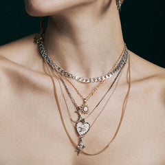silver curb chain necklace, layering necklaces