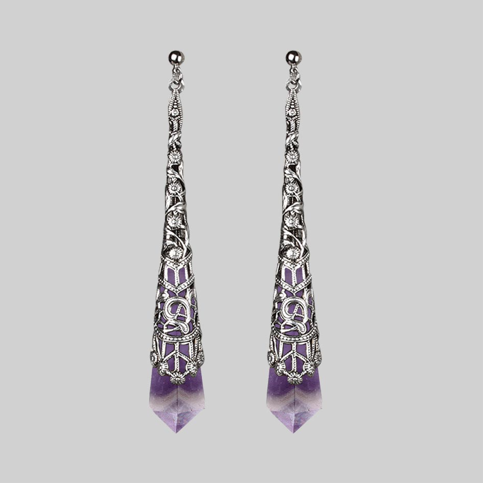 FAITH. Gemstone Drop Earrings - Silver