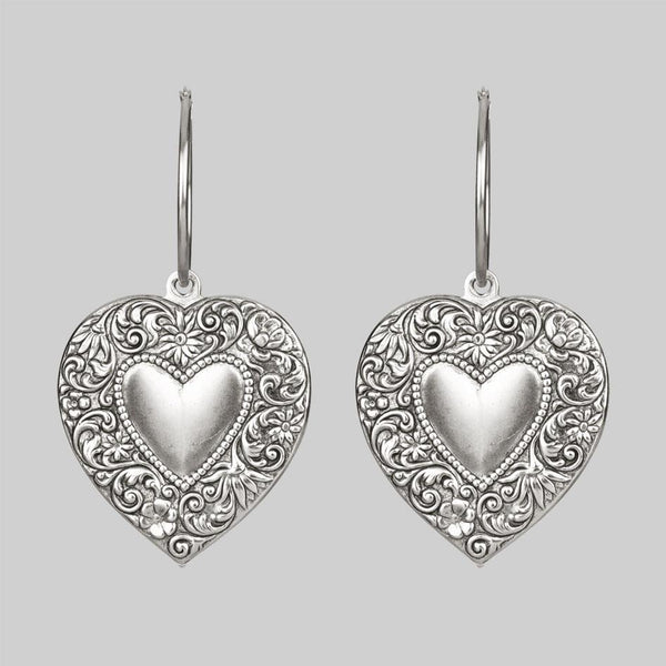 LOVE STRUCK. Heart Hoop Earrings - Silver