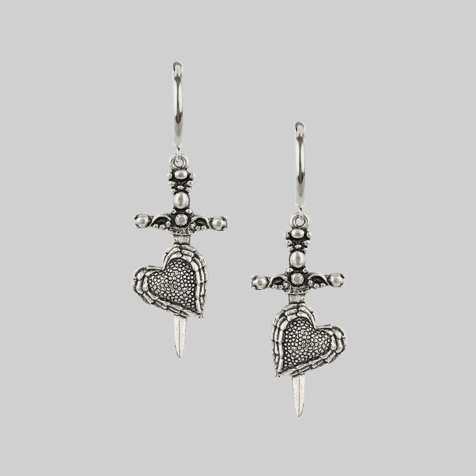 Silver dagger and heart hoop earrings