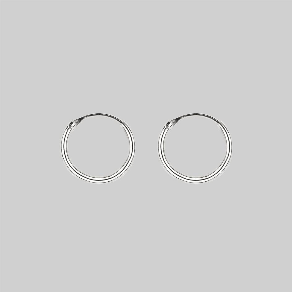 DEVOTION. Black Heart & Sword Hoop Earrings - Silver