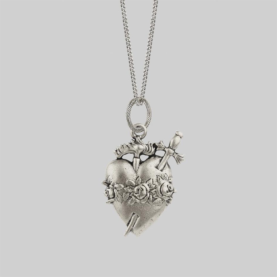 Silver sacred heart necklace