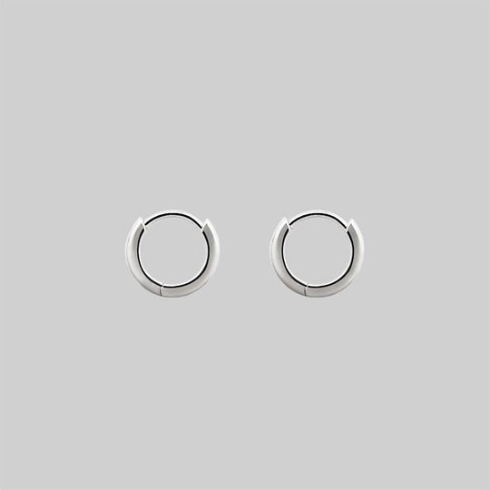 Simple Silver Clicker Hoop Earrings - 12mm