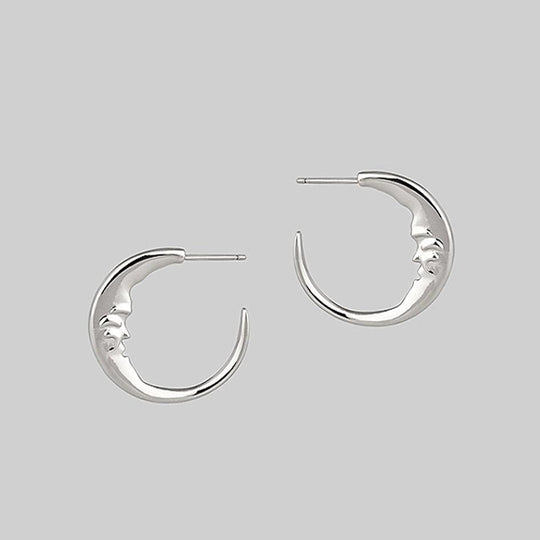 GOOD NIGHT. Man in the Moon Crescent Earrings - Silver