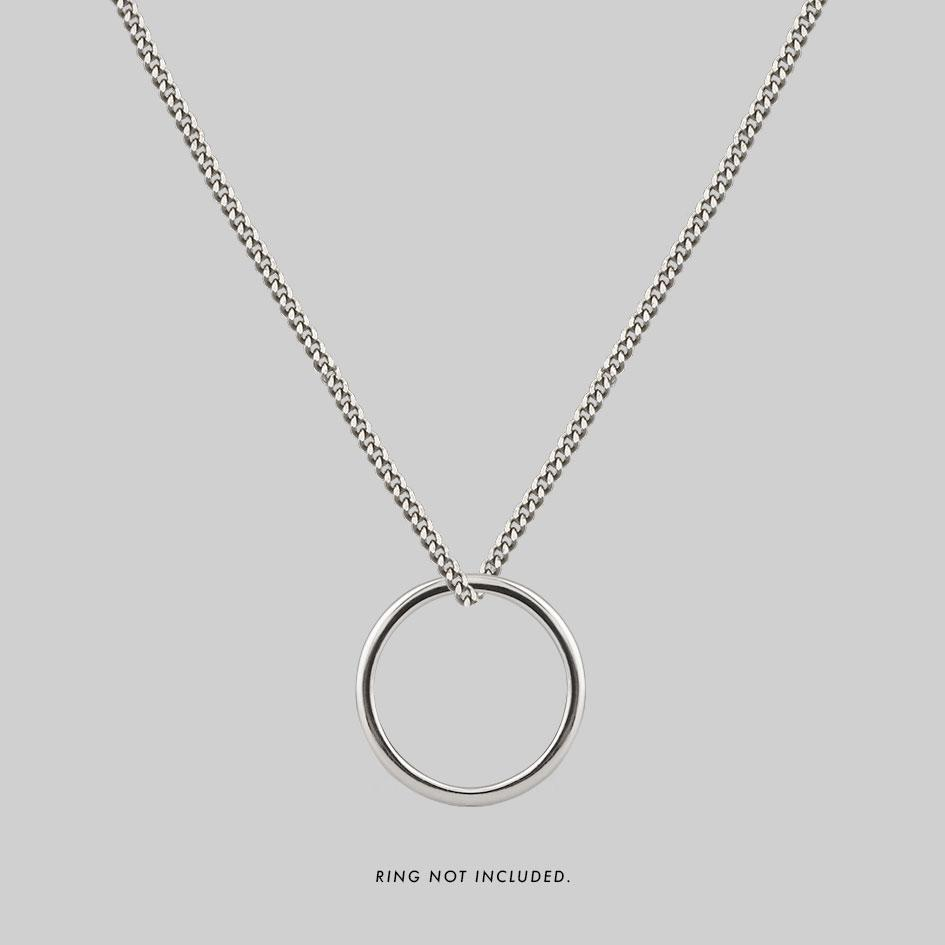 Sterling silver ring neckalce, unisex curb chain