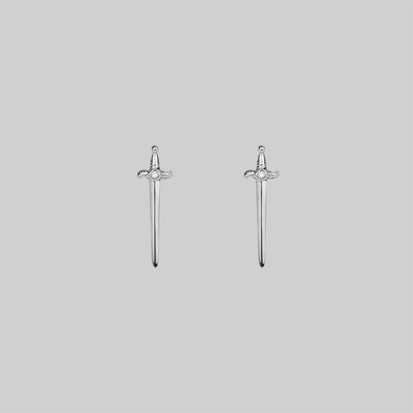 BETRAYAL. Dagger & Cubic Zirconia Earrings - Silver