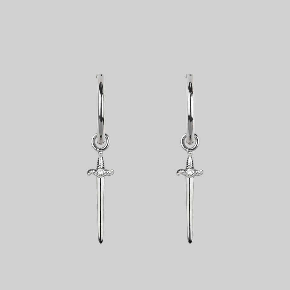 Sterling silver dagger hoop earrings