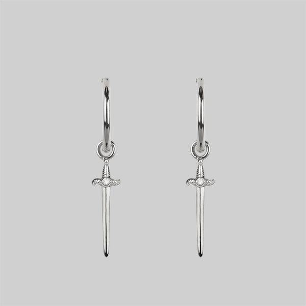 BETRAYAL. Cubic Zirconia Dagger Hoop Earrings - Silver