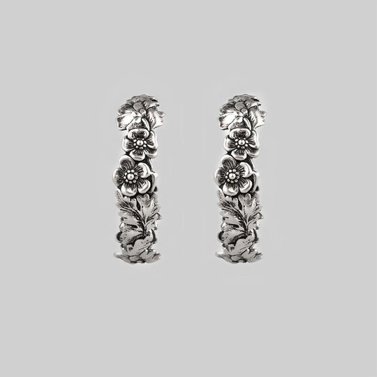 DAHLIA. Floral Garland Hoop Earrings - Silver