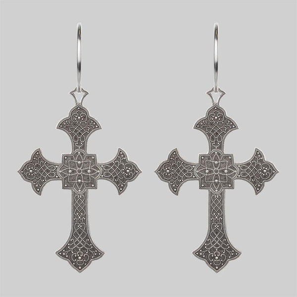 OPHELIA. Gothic Cross Hoop Earrings - Silver