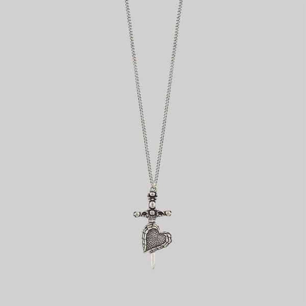 Dagger through heart necklace