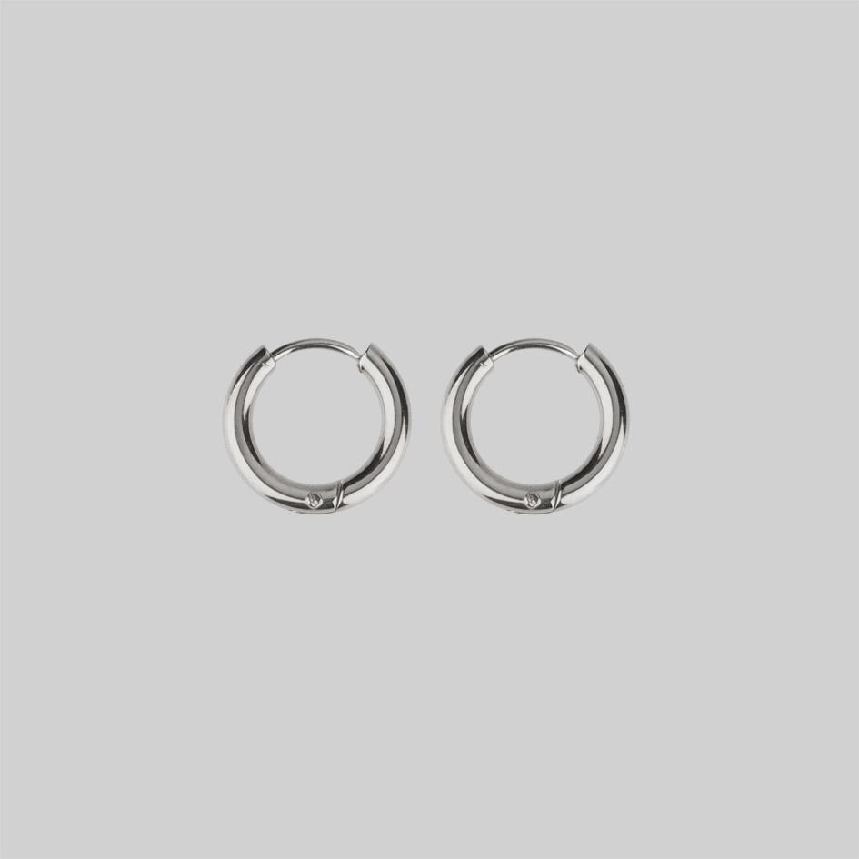 Small silver huggie hoop earrings