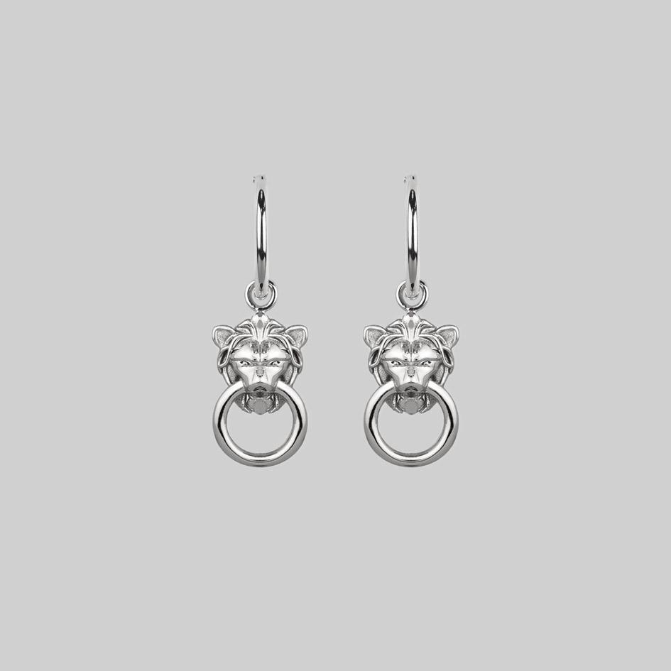 silver lion knocker earrings