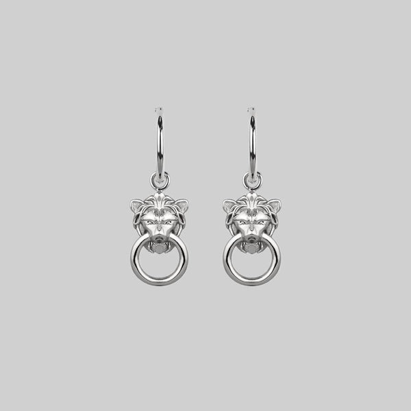 MINI ANWAR. Lion Knocker Hoop Earrings - Silver