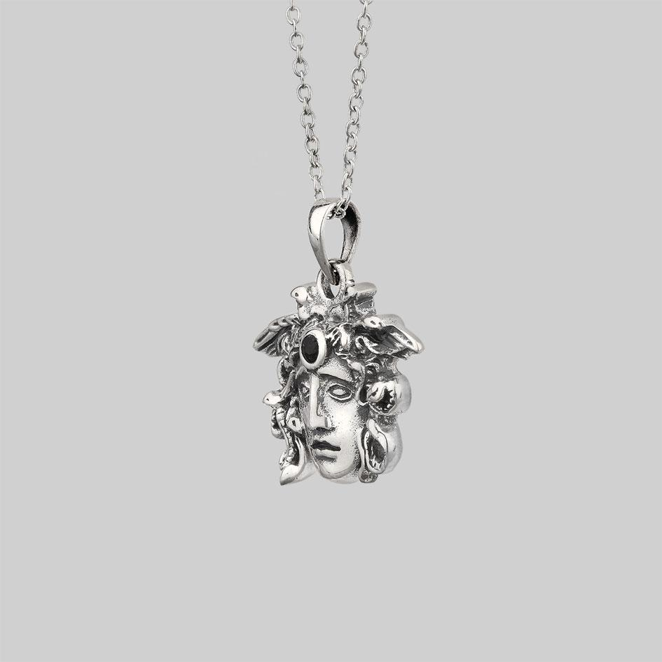 detailed medusa pendant necklace