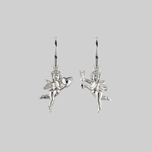 VOYAGER. Ornate Key Hoop Earrings - Silver