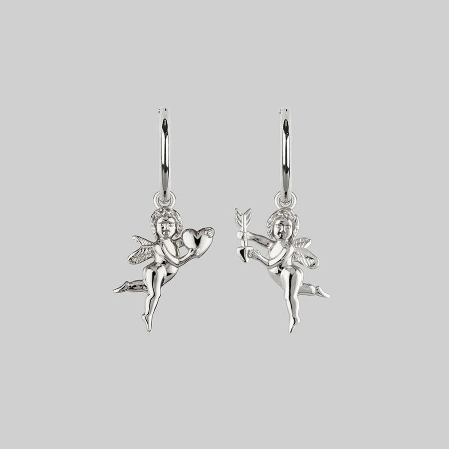 Silver-mis-match-cherub-earrings