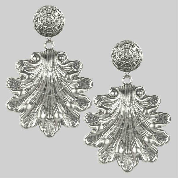 ARIEL. Ornate Shell Statement Earrings - Silver