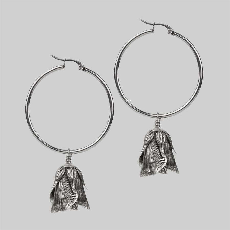 Silver rose bud hoop earrings