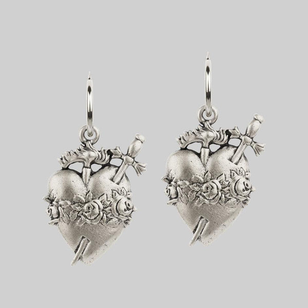INFERNO. Sacred Heart Hoop Earrings - Silver