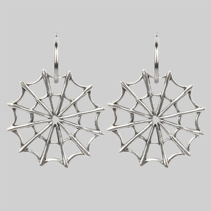 DOLORES. Web Statement Hoop Earrings - Silver