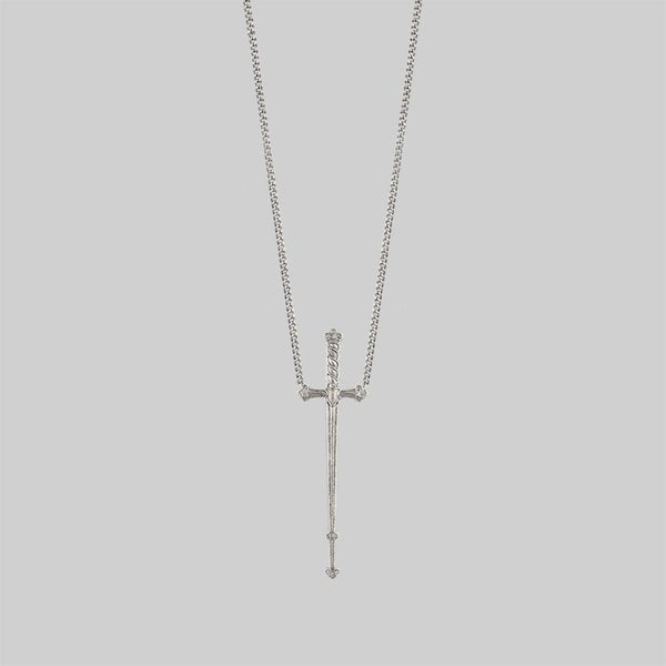 Long silver sword necklace