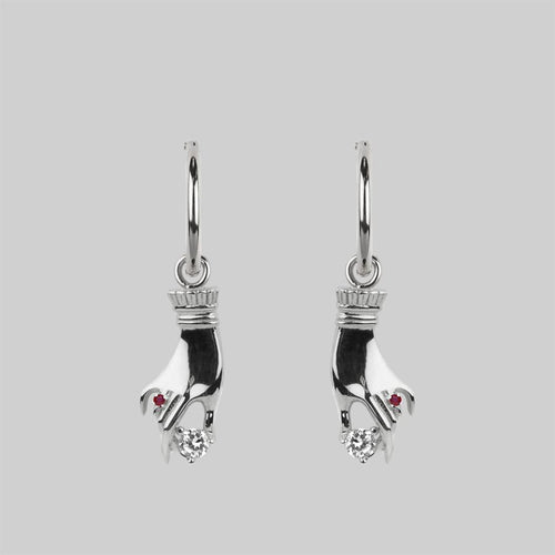 Cupid & Psyche Lovers Hoop Earrings - Silver