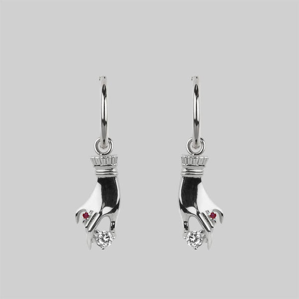 MILDRED. Disembodied Hand Hoop Earrings - Silver