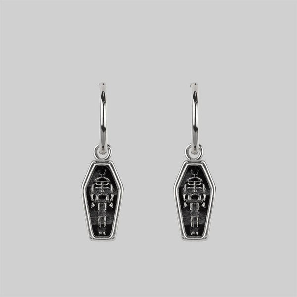 MORALITY. Skeleton Coffin Hoop Earrings - Silver