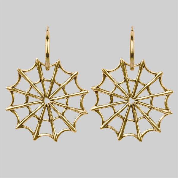 DOLORES. Web Statement Hoop Earrings - Gold