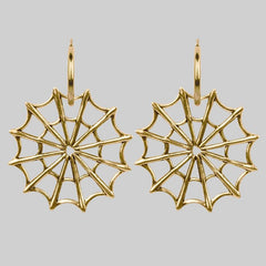 Gold spider web earrings