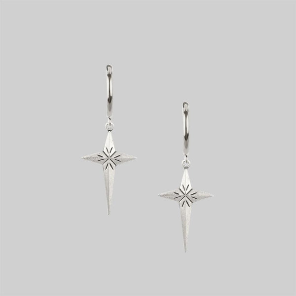 ETERNITY. Starburst Cross Earrings - Silver