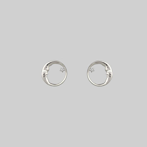 TWILIGHT. Moon Crescent & Star Earrings - Silver