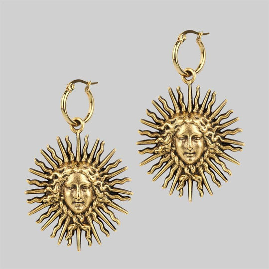 SOL INVICTUS. Sun Goddess Earrings - Gold