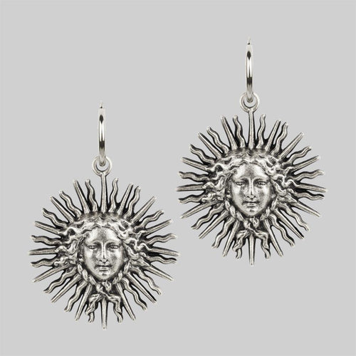 Silver sun goddess earrings